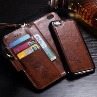 Oil Wax Leather Iphone 6 Wallet Casewith Magnetic Clip Full Protection Manufactures