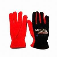Men's Sports Gloves, Made of Micro Fleece with Embroidery Logos Manufactures