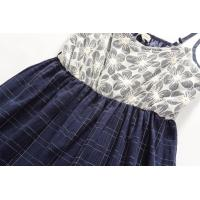 Quality 100% jaquared cotton navy trapeze casual summer dress with white flower cotton for sale