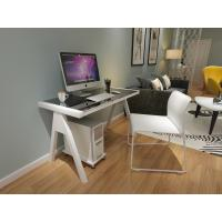 China Most popular Tempered Glass Computer Desk With steel Legs for sales on sale