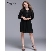 Long Sleeve Double Layers Bandaged Neck Casual Dress Manufactures