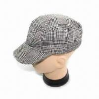 Fashionable Men's Cap, Made of Cotton Plaid Fabric Manufactures