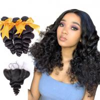 18 Inch Loose Wave Malaysian Hair Extensions / Virgin Hair Bundles With Lace Frontal Manufactures
