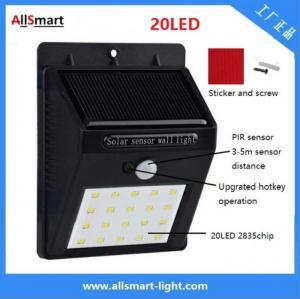 Buy cheap IP65 PIR Solar Lights Motion Sensor 20LED 300lumens 4W Solar Garden Wall Light for Landscaping and Illumination from wholesalers