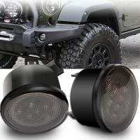 LED Yellow Front Replacement Turn Signal Light Assembly with Smoke Len for 2007 - 2017 Jeep Wrangler