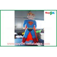 China Blue / Red Inflatable Superman Cow Customized Animal Character Inflatable Model on sale