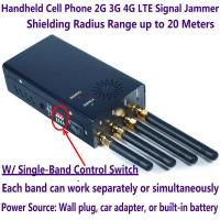 4 Antenna Handheld Cell Phone 2G 3G 4G LTE Signal Jammer Blocker W/ Single Control Switch Manufactures