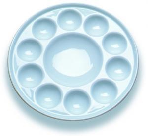 10 Wells Paint Mixing Palette Art Paint Set , Round Porcelain Watercolour Palette Manufactures