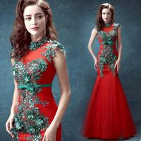 Red Crepe And Green Beading Traditional Gorgeous Evening Dress TSJY129 Manufactures