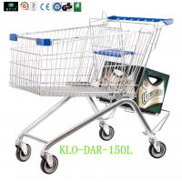 Low Carbon Steel Metal Shopping Cart With Wheels / Supermarket Shopping Trolleys Manufactures