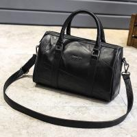 Black Cross Body Real Soft Leather Handbags Large Capacity With Padded Nylon Lining Manufactures