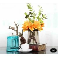 Blue Solid Standing Decorative Glass Vases Handmade For Flower House Hotel Manufactures