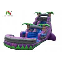 Buy cheap Dual Lane 0.6mm PVC Inflatable Water Slide With Pool 30ft Purple For Summer from wholesalers