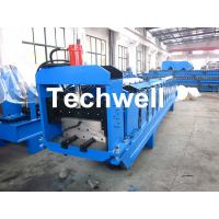 Metal Top Ridge Tile Roll Forming Machine With 15 Forming Stations , PLC Control System Manufactures