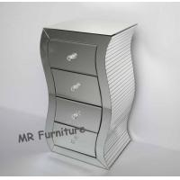 Quality S Shape Silver Mirrored Chest , 4 Drawers Mirrored Bedroom Dresser Wooden Base for sale