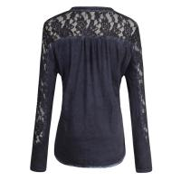 Quality Long Sleeve ladies casual clothing Silk Navy Cotton Lace T Shirt for sale