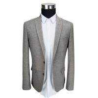 Office Mens Knit Blazer Casual Slim Fit Knit Fabric Blazer Grey Color Manufactures
