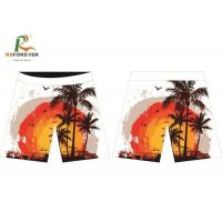 Polyester Spandex Board Shorts Sunset Palm Trees , White Men