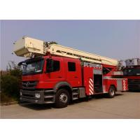 Quality Single Cab Tiller Ladder Fire Truck , V Type Engine Mid Mount Aerial Fire Truck for sale