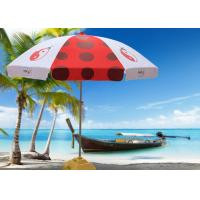 Luxury Red And White Outdoor Cafe Umbrellas With 500D Oxford Fabric , Heat Transfer Printing Manufactures