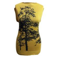 yellow long womens knit sweater dress in cotton wool for autumn with black tree printed Manufactures