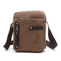 Business Male Messenger Small Crossbody Bag Khaki With Vertical Zipper Manufactures