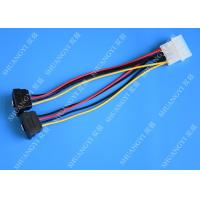 Computer Molex 4 Pin To 2 x15 Pin SATA Data Cable Right Angle Pitch 5.08mm Manufactures