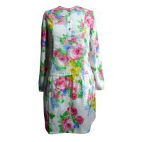 Spring / Summer Flower print dress full sleeve dresses women with Stand Collar Manufactures