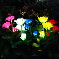 3Led Outdoor Garden Realistic Solar Powered Rose Lights Flower Stake,For Garden Patio Yard Pathway Decoration Manufactures