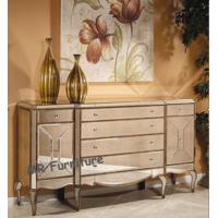 6 Drawers Mirrored Credenza Sideboard Large Size Solid Wood MDF Material Manufactures