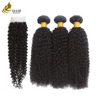 Buy cheap Original Raw Kinky Curly Brazilian Human Hair Weft Bundle Extension And Lace Closure from wholesalers