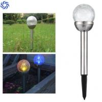 Quality Beautiful Solar Ball Lights / Solar Crackle Glass Ball Lights With Changing Color LED for sale