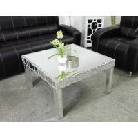 Square Mirrored Coffee Table Silver Wooden Trimming Unique Design Manufactures