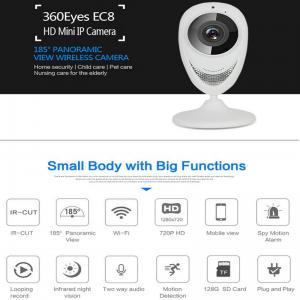 EC8 HD 720P Mini Wifi IP Camera Wireless P2P Baby Monitor Network Remote CCTV Surveillance DVR Camera Playback on App Manufactures