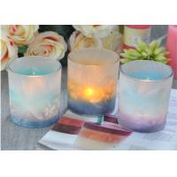 Custom Candle Luxury candle holders glass , Feather Painted glass candle jars Manufactures