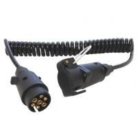 Spring Coiled Electrical Wire With 7 Pin Small Round Trailer Plug Manufactures