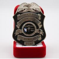 Black Painting Shinny Silver Plating Unique Shape police name badge Manufactures