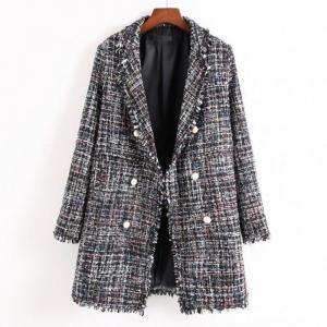 women long tweed shell coats jacket fashion dust coat Manufactures