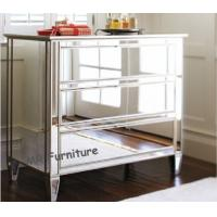 Quality Bedroom Mirrored Bedside Drawers , Gross 3 Drawer Mirrored Bedside Table for sale