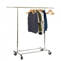 Chrome Metal Clothing Rack On Wheels / Extendable Rods Portable Metal Clothes Rack Manufactures