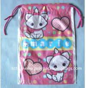 Quality Waterproof Plastic Drawstring Bag , Drawstring Plastic Bag For Wet Towel / for sale