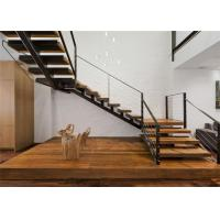 Straight U Shaped Staircase Design Carbon Steel Beam Wooden Treads Long Lifespan Manufactures