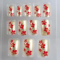 Gel / Acrylic Salon Fake Nails Flower Pattern Press Nail For Christmas Manufactures