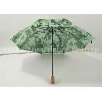 Ladies Automatic Folding Umbrellas , Wooden Handle Umbrella Nature Green Painted Manufactures
