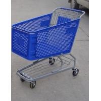 Plastic Supermarket Shopping Carts , Color Powder Coating Shopping Trolleys Manufactures