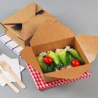 Hot sell disposable craft paper food packaging box takeaway craft paper lunch food box paper meal box Manufactures