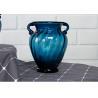 Solid Custom Big Glass Vase Decoration , Hotel Blue Handmade Glass Vase Manufactures