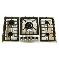 201 Stainless Steel 5 Burner Gas Cooktop With Enamel Cap / Safety Device Manufactures