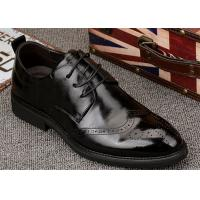 Popular Mens Black Leather Formal Shoes , Wingtips Toe Mens Smart Dress Shoes