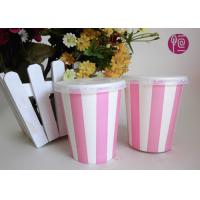 China 8 Ounce Single Wall Striped Cold Paper Cups Double PE Coated on sale